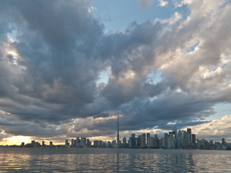 Toronto, skyline, clouds, downtown, Islands,