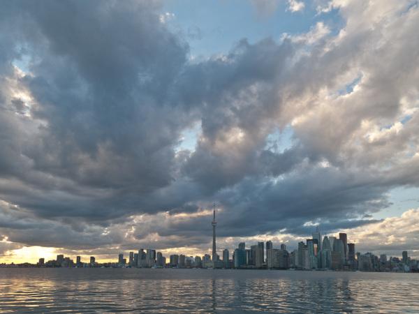 Toronto, skyline, clouds, downtown, Islands,
