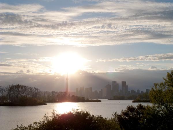 Toronto skyline sunset Spring sky clouds