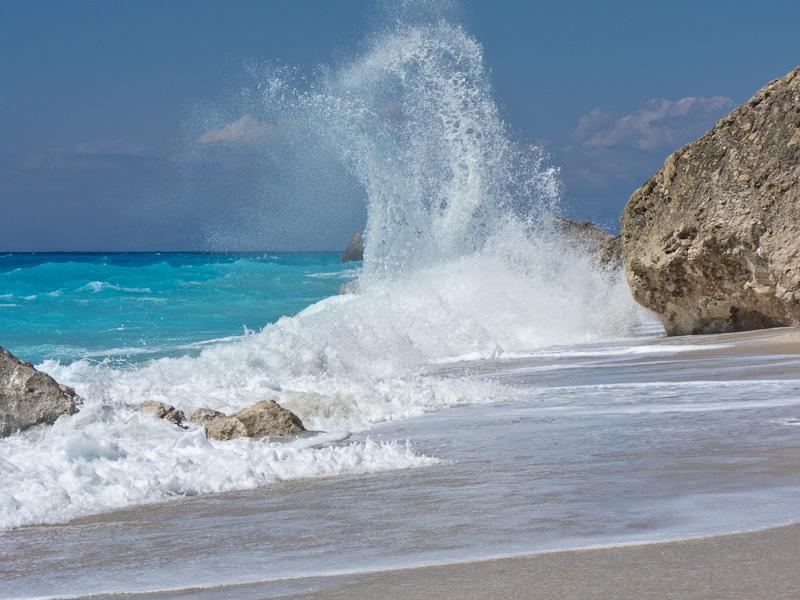 Megali Petra Lefkada beach waves rock sea Summer