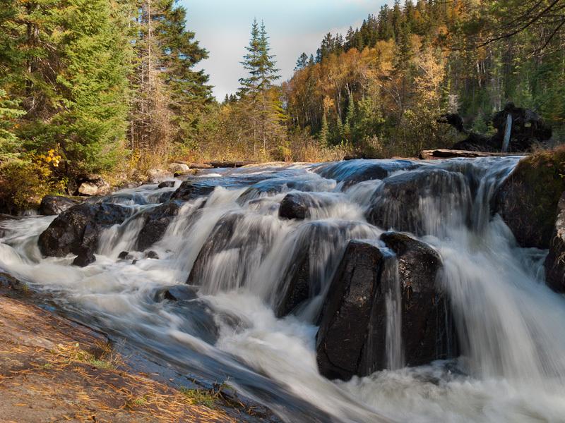 Algonquin leaves Autumn waterfalls rocks rapids