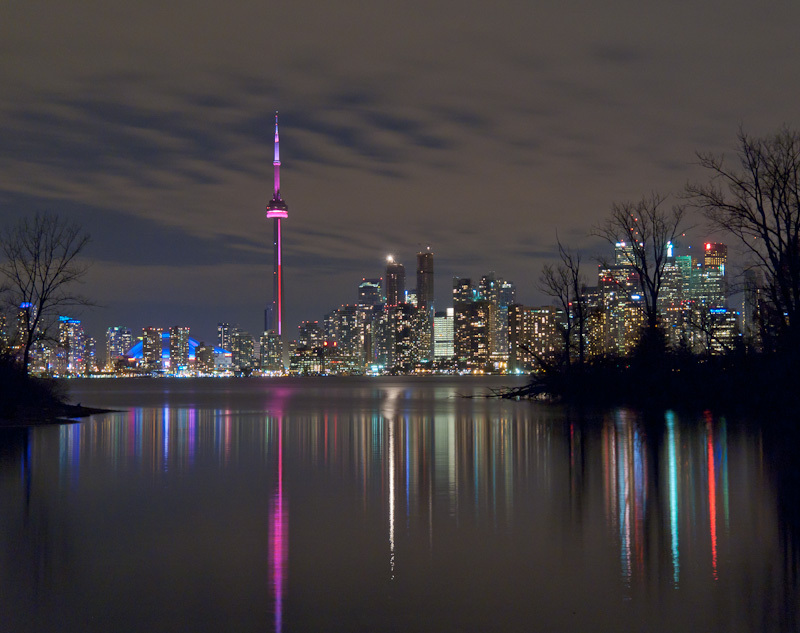 Toronto night skyline reflection lights downtown