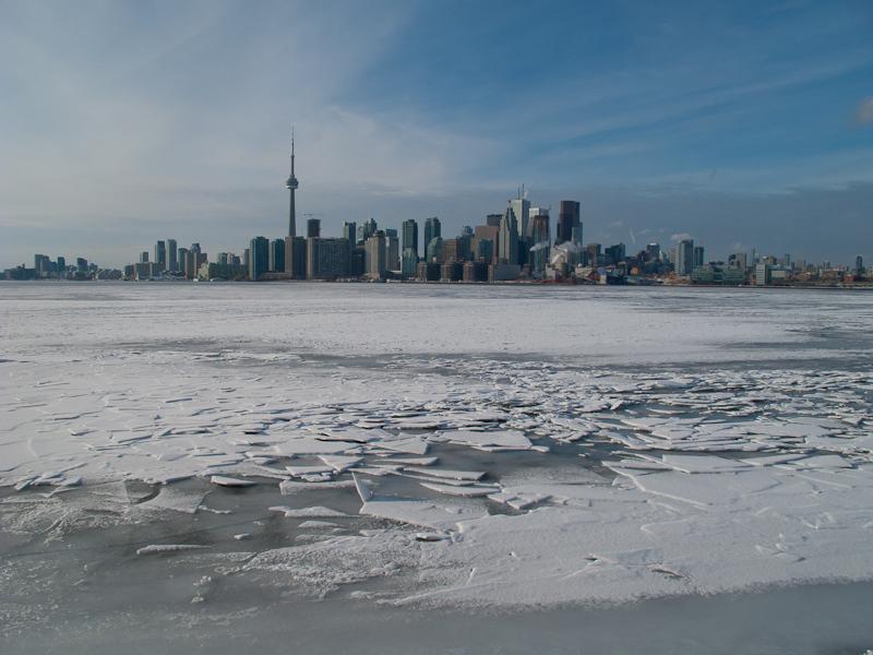 Toronto Islands Winter snow ice skyline frozen