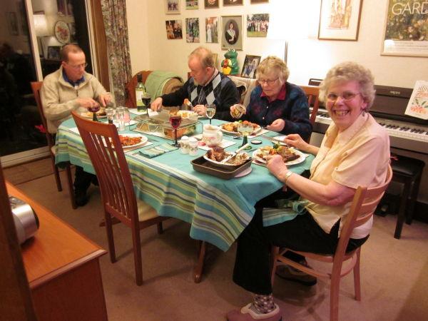 Having tea at mum's with Ba & Peter