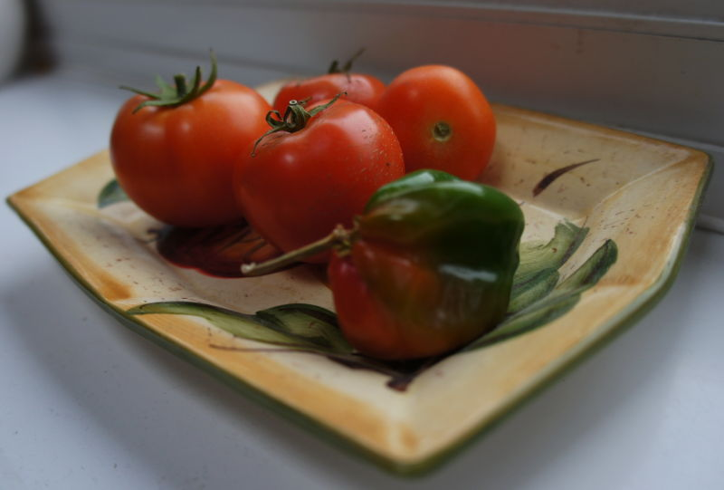 four tomatoes and a cheeky little pepper