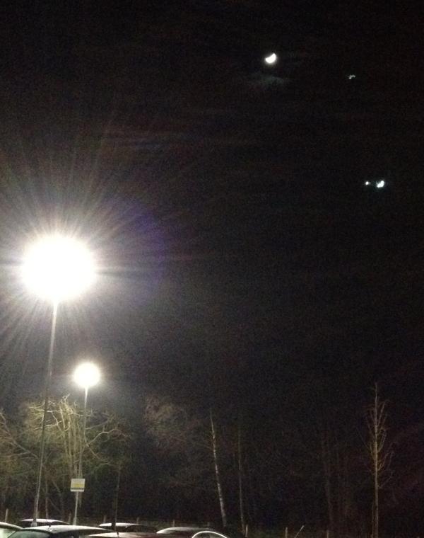 Falkirk, lights and moon