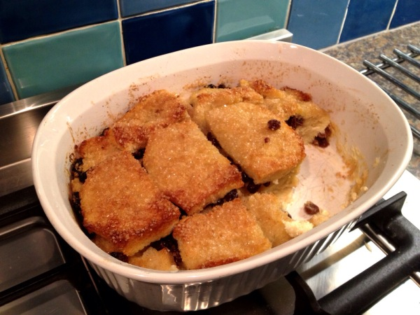 bread & butter pudding with crispy sugar top