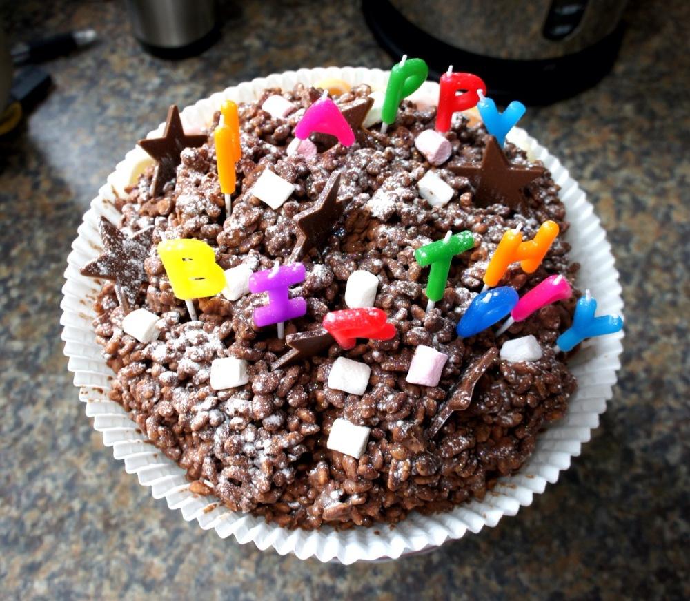 chocolate birthday crispie