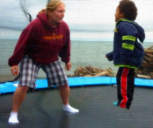 Tammy Playing With Liam On Trampoline