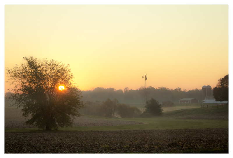 Sun Rising Over the Farm