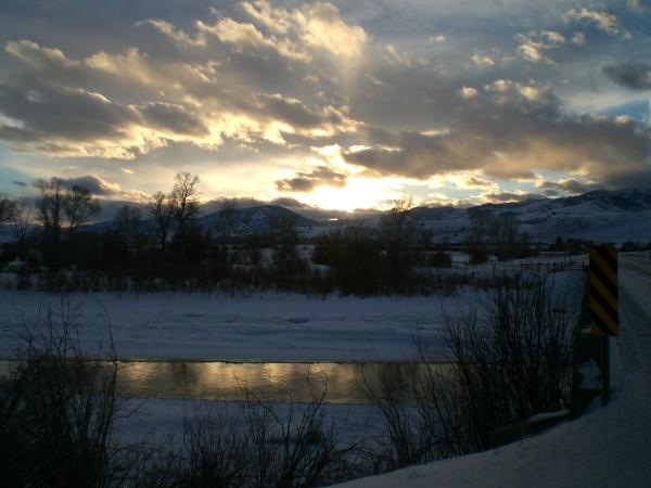 Twilight Winter River.