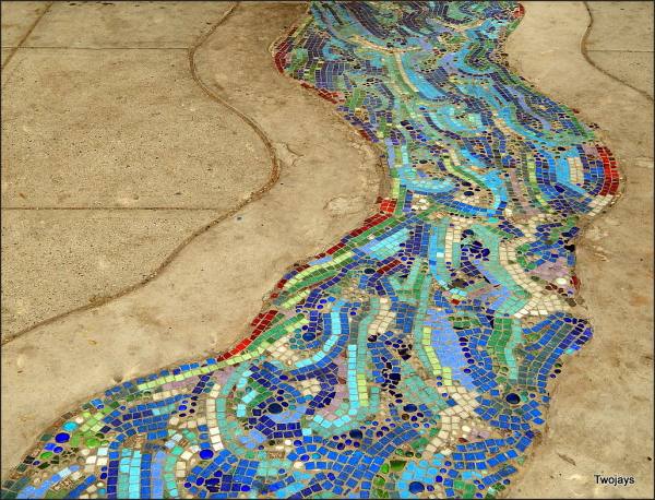 Crazy Daze and mosaic sidewalk