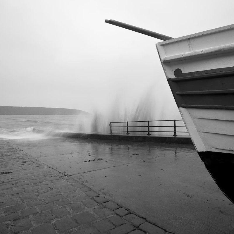 Coble Landing, Filey in rough sea