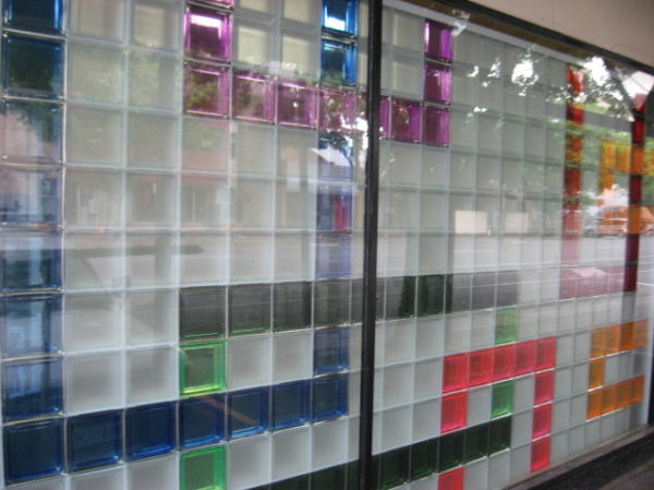 Coloured glass wall