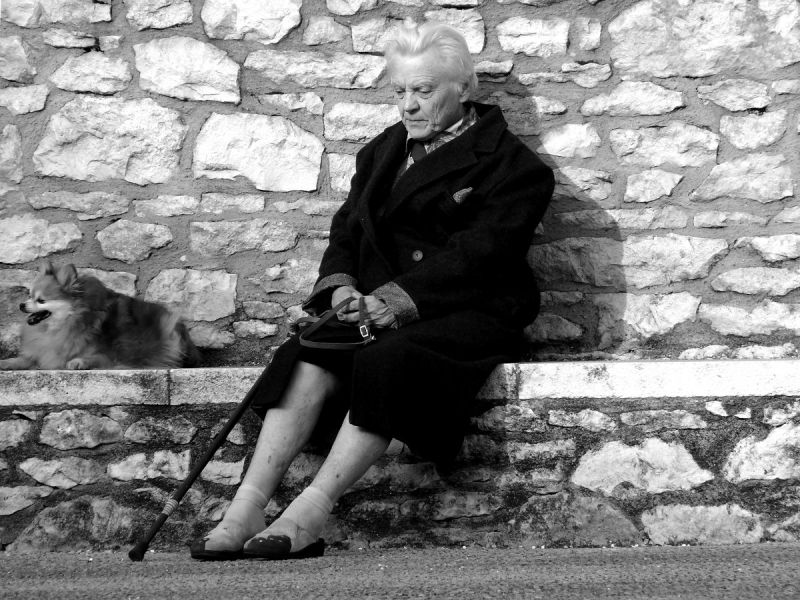 vieille femme assis souillac chien