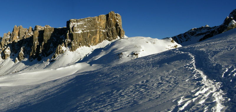 alpenglow at passo giau panorama
