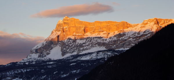 alpenglow at kreuzkofel in alta badia