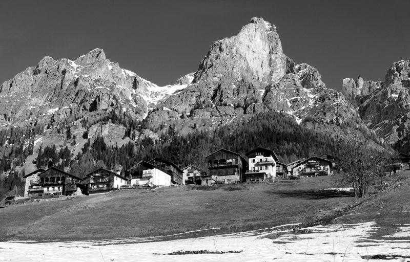 ladin homesteads in val fiorentina dolomites