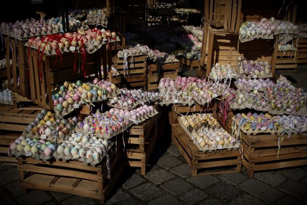 easter eggs on easter market vienna