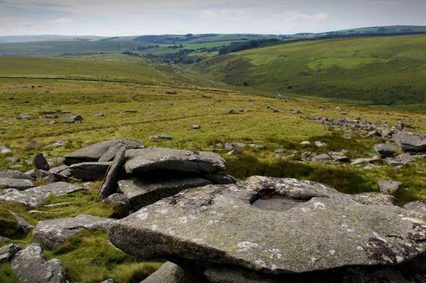 view from littaford tor, dartmoor, devon