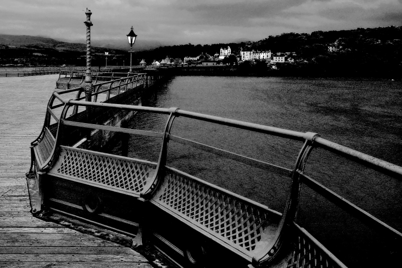 pier into menai strait, bangor, wales