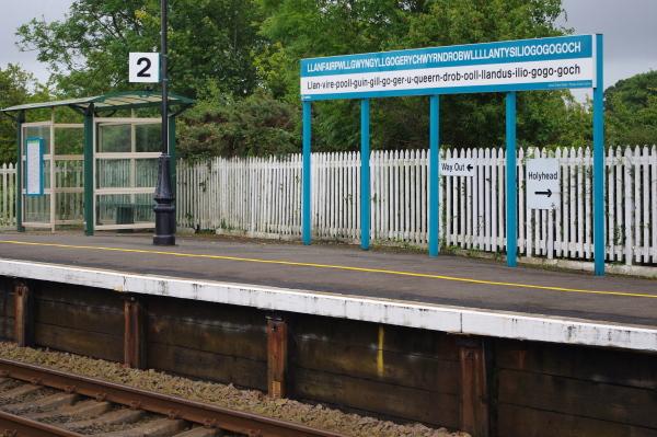train station sign of llanfairpwllgwyngyll, wales