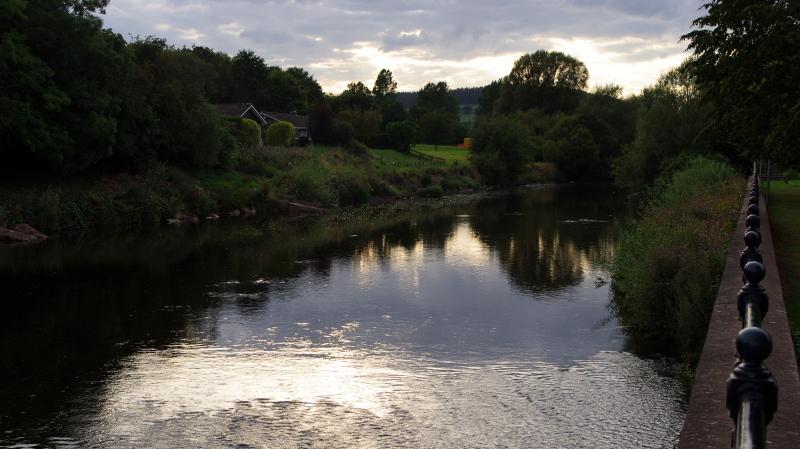 evening along honddu river, brecon, wales
