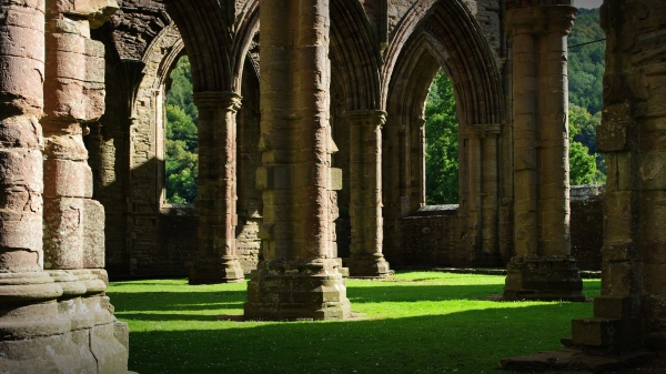 columns, tintern abbey, wales