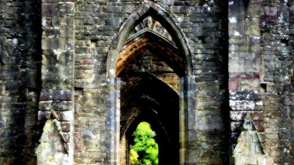 gothic arches, tintern abbey, wales