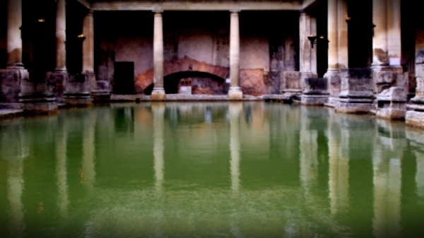 roman baths, bath, england, halo filter