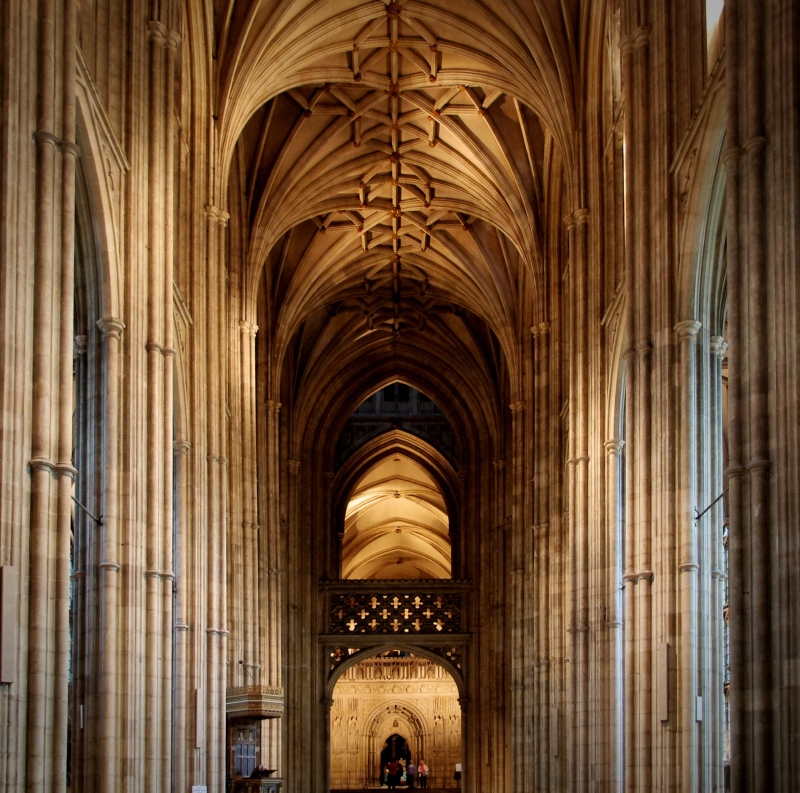 nave, columns and ceiling, canterbury cathedral