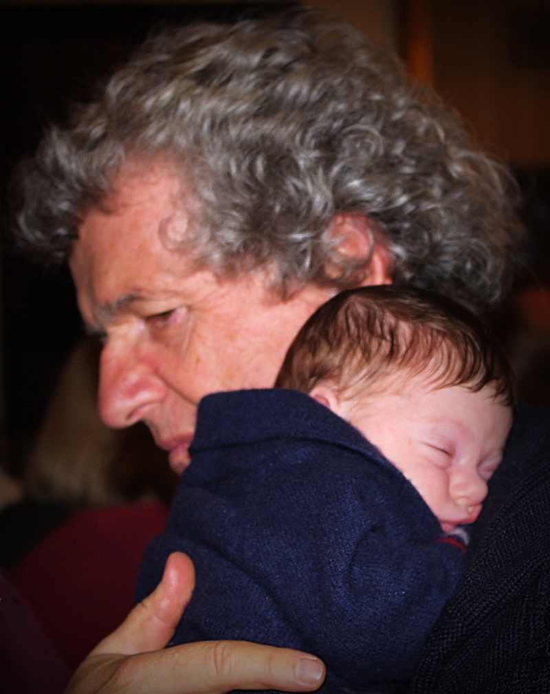one-month-old emilia with grandpa