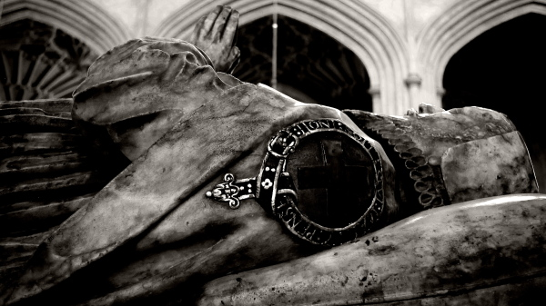 "a bishop's tomb, bath cathedral, ""anvil"""