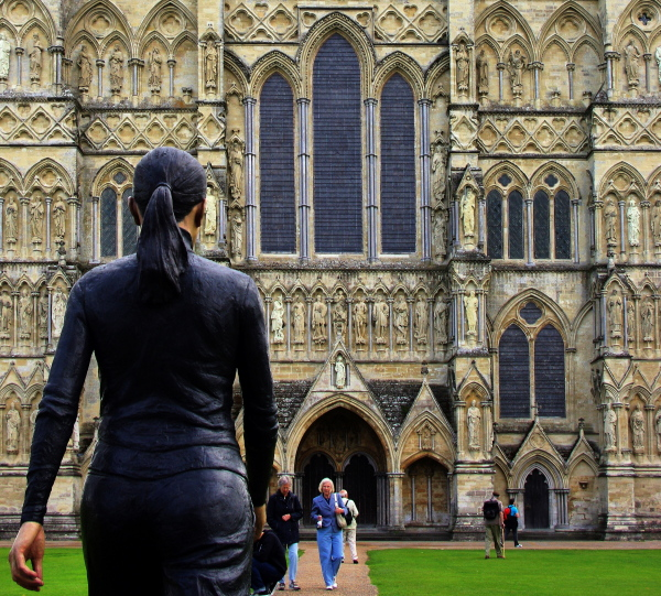 """walking woman"", conflux, salisbury cathedral"