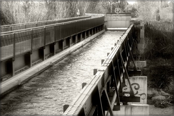 canal trough bridge across schwechat creek