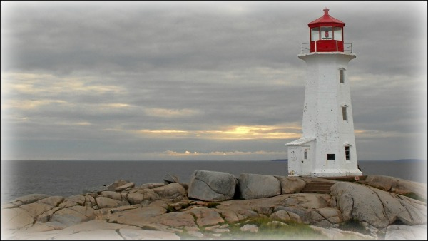 light house and granite rocks, peggy's cove