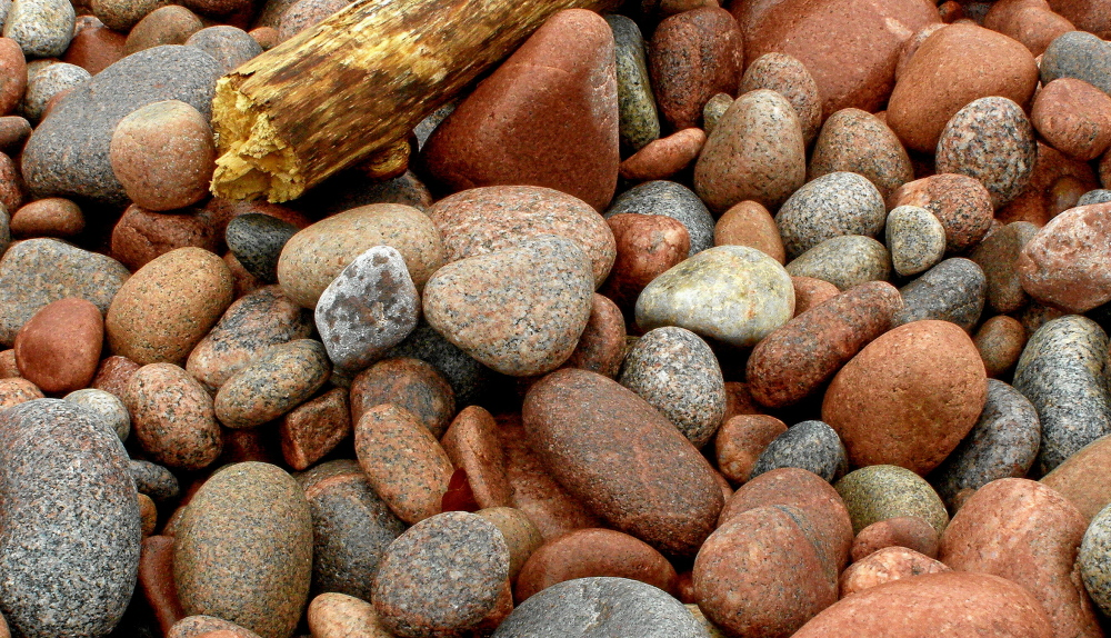 pebbles on the beach, cabot trail