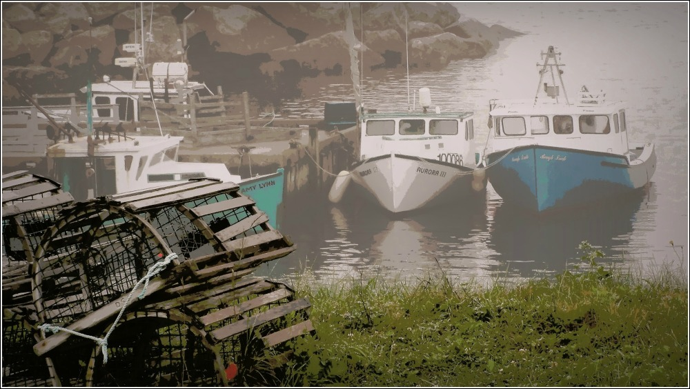 lobster traps and boats, cabot trail