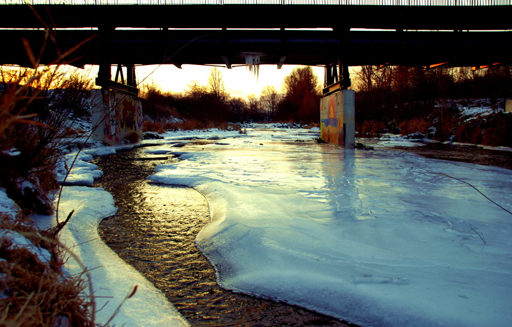 canal project #7b, bridge over icy creek