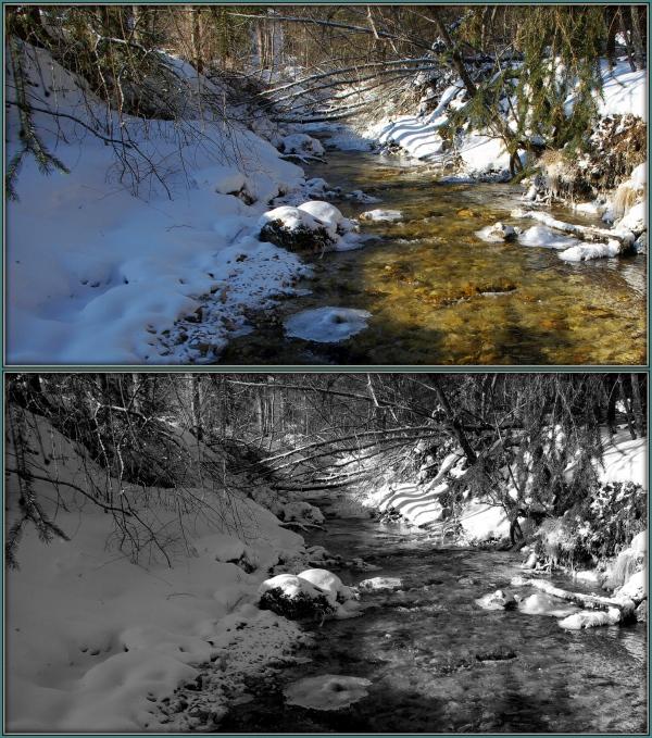 pisciadù creek under a snow cover
