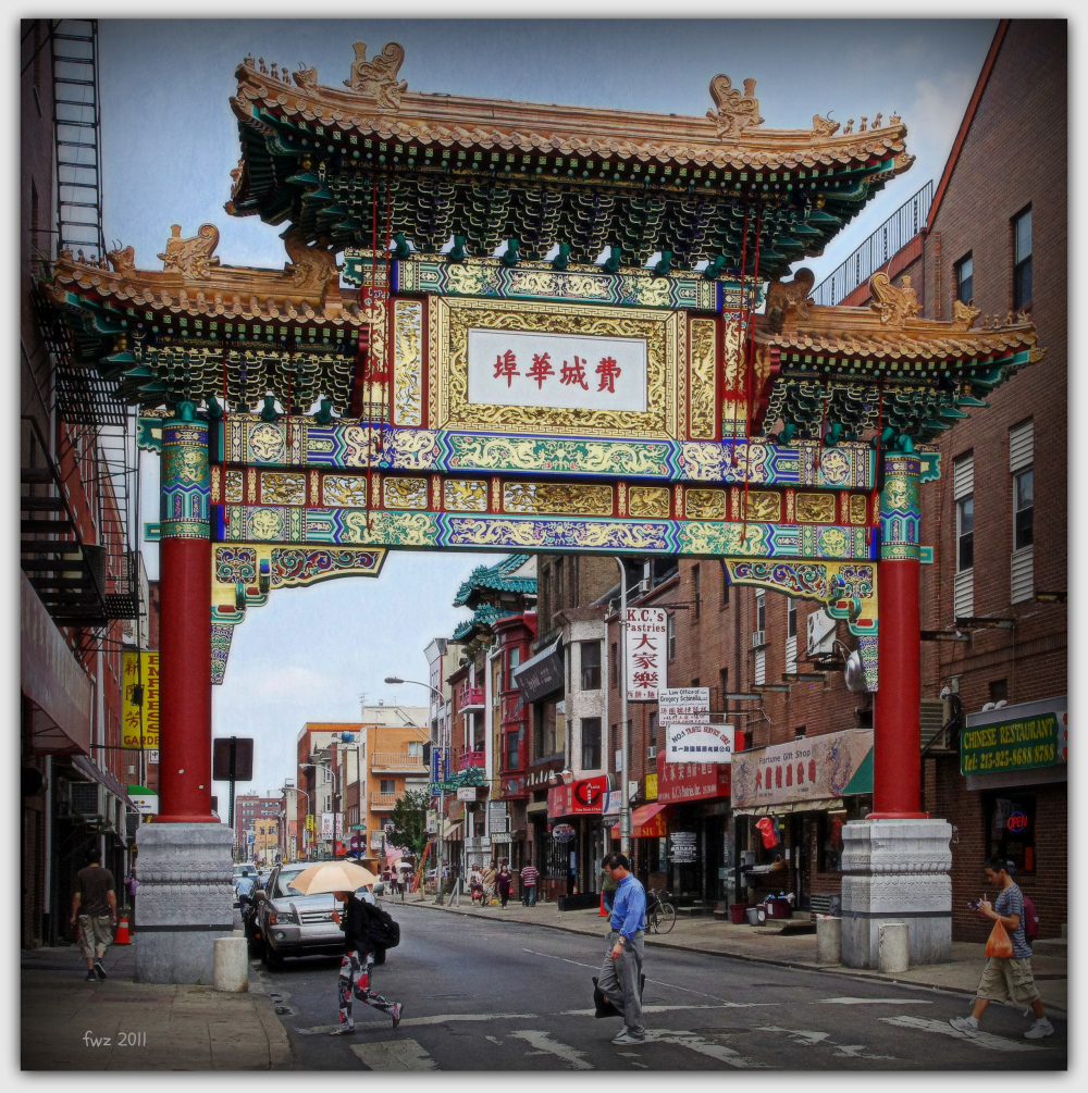 gate to philadelphia's chinatown in arch street