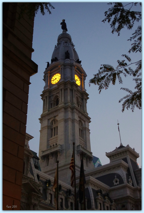 evening lights, city hall, philadelphia