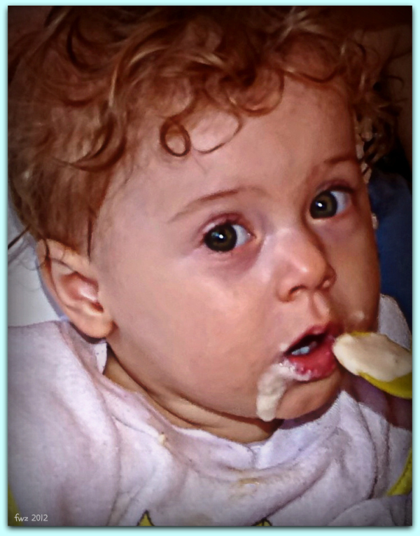 emilia, ten months old, feeling hungry