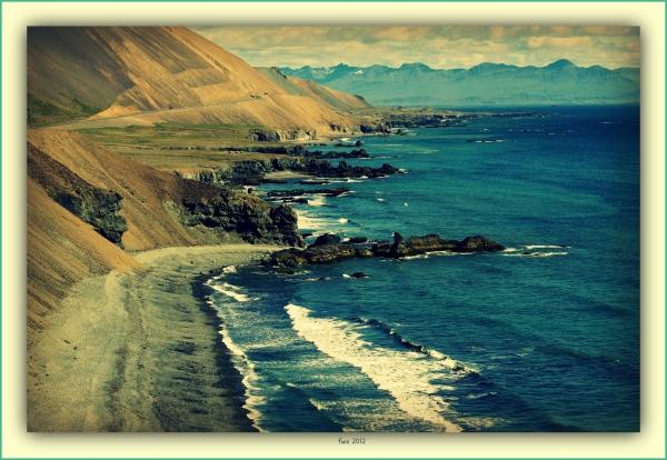 iceland, south coast, cliffs, djúpivogur, cross