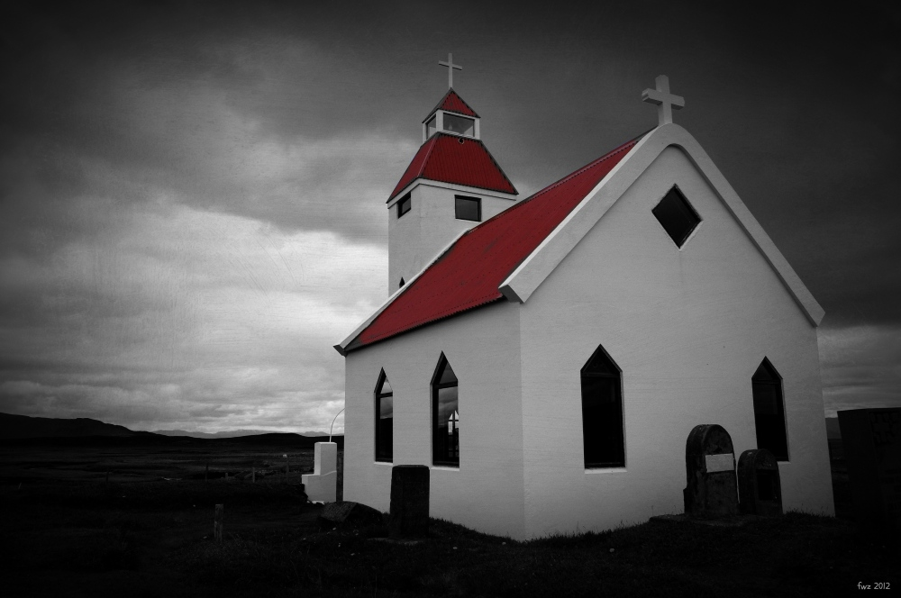 iceland, mödrudalur farm, church, color experiment