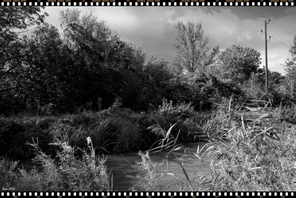 canal project 37a, autumn, clouds, bw, border
