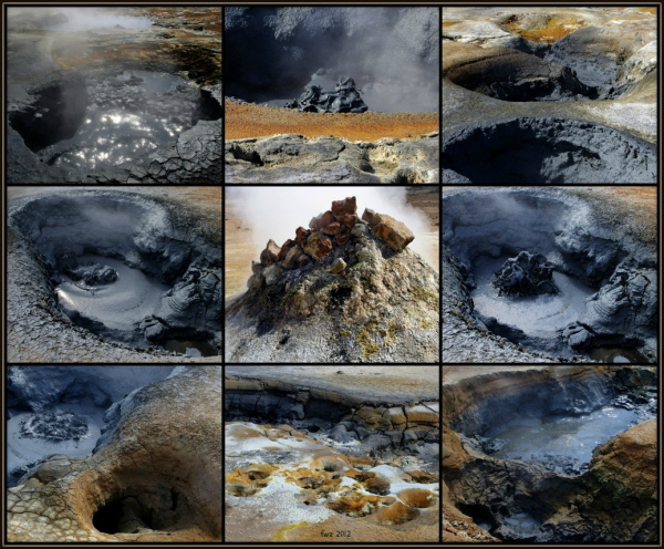 iceland, námaskarð geothermal field, mudpots, coll