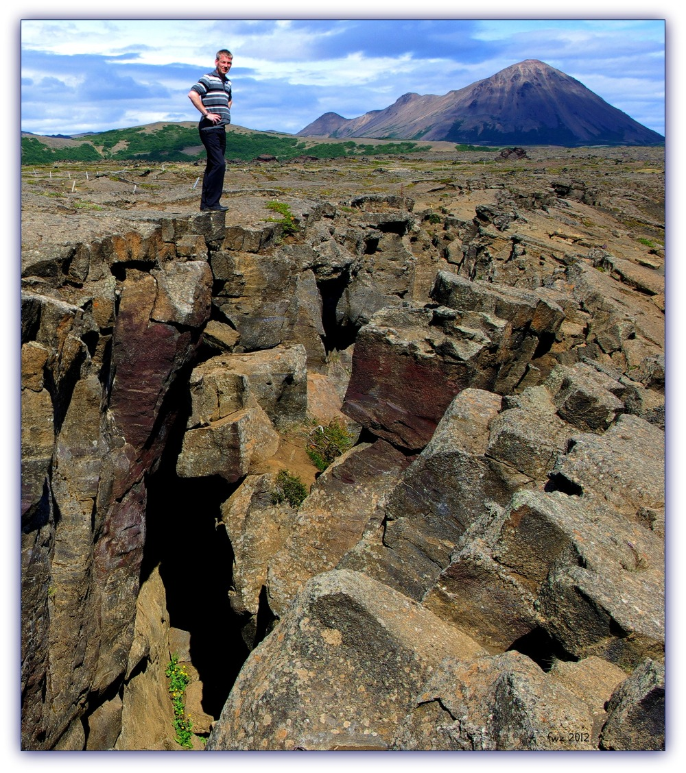 iceland, mývatn area, fissure in lava