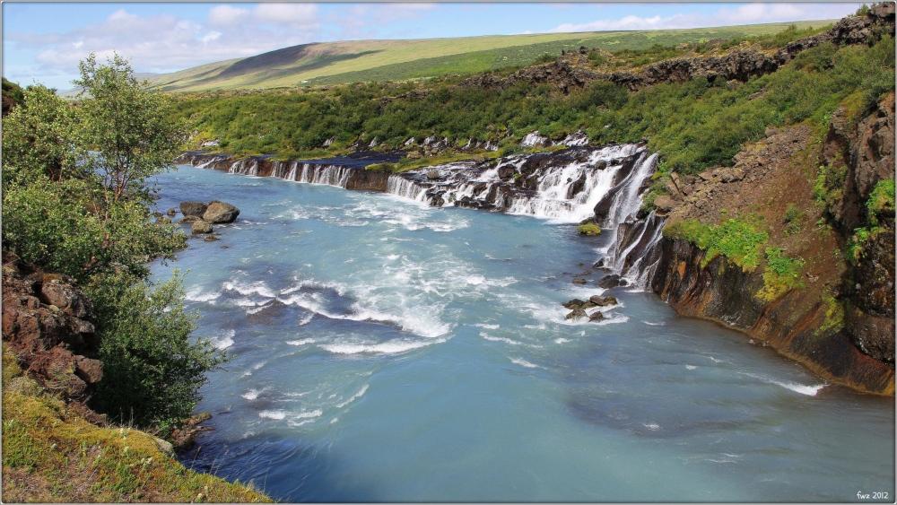 iceland, waterfall, hraunfoss, lava