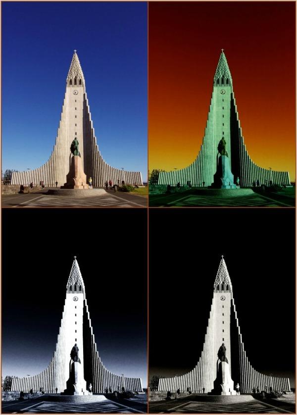 iceland, reykjavik, hallgríms church, 4 versions